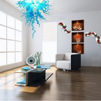 peças de centro de vidro para mesa venda por atacado-Branco Azul moderno verde Mão soprado vidro Murano Candelabro por tabela do casamento Top Centerpieces LED Pendant