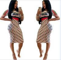 amerika kadın giyim toptan satış-Elbise 2019 Avrupa ve Amerika kadın giyim Tam vücut mektup baskı elbise moda Seksi Slim fit Orta etek yeni stil toptan