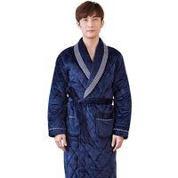 olanlar artı boyutu toptan satış-JQ erkekler badjas bornoz erkekler için bornoz kimono erkekler bata adam hombre sabahlık de bain bornoz kış artı kalın sıcak boy erkek bornozlar