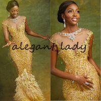 prom kleider feder stil groihandel-Asoebi Stile Gold-Nixe-Abend-Kleider 2020 Kente Neueste Ankara Art Spitze Perlen Feder mit Flügelärmeln Prom-Festzug-Kleid