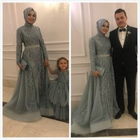 Wholesale purple blue bridesmaid dresses tulle resale online - 2019 Aso Ebi Arabic Muslim Lace Beaded Evening Dresses Long Sleeves A line Prom Dresses Tulle Formal Party Second Reception Bridesmaid Gowns