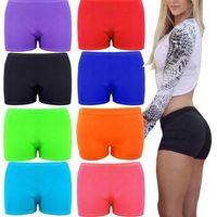 pantalones cortos para niñas al por mayor-Womens Girls Stretch Hot short Negro Neon Mini Dance Colors Gym Cycle # 282714