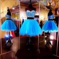 Wholesale piece short sweetheart online - Two Pieces Short Blue Homecoming Dresses Sweetheart Beaded Tulle A Line vestidos de fiesta Party Cocktail Prom Dresses BC1435