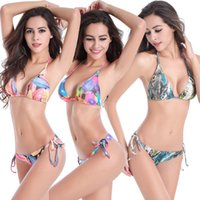 Wholesale plus size strappy swimwear for sale - Beautiful Print Bikini Set Fully Lined Women Swimwear Classical Bather Swimusit Strappy Sexy Plus Size Bikini