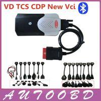r2 tcs cdp al por mayor-2014.R2 Nuevo Vci con Bluetooth Firmware 1423 VD TCS CDP Pro 8 cables completos para auto + cables para camión Para auto OBD2 DHL Freeship