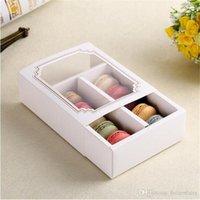 ingrosso imballaggio eco friendly cupcake-Scatola della scatola di 10 cassetti di imballaggio della finestra calda di nuovo di Macaron della finestra, contenitore di torta, contenitore di regalo 100PCS / LOT