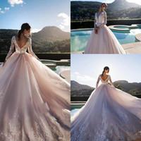 Wholesale robe blush resale online - Romantic Blush Pink Long Sleeves Wedding Dresses V Neck Lace Appliqued Backless Bridal Gowns A Line Tulle Wedding Gowns Robe De Mariée