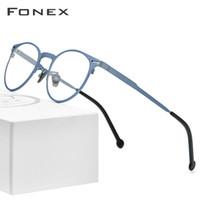 Wholesale titanium prescription glasses resale online - FONEX Pure Titanium Glasses Frame Men Retro Round Prescription Eyeglasses Frame Optical Myopia Eyewear Eye Glass for Women
