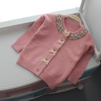 yay ceketi sonbahar toptan satış-Noel Kızlar için Ceket Kazak Sonbahar Kış Hırka Yün Çocuk Kazak Örme Yay Inci Kız Elbise Giyim