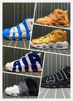 ingrosso scarpe da basket di cuscino d'aria-NIKE AIR MAX 2019 Cushion Uptempo Scarpe da basket per uomo Donna di alta qualità 96 QS Olympic Varsity Marrone 3M Scottie Pippen Sneakers sportive Taglia 36-47