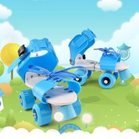 ruedas fijas al por mayor-Niña Niño Regalo ABS zapatos del patín de ruedas de desgaste cuatro ruedas ajustable resistente a la fila del doble del resbalón niños de los niños al aire libre fijas