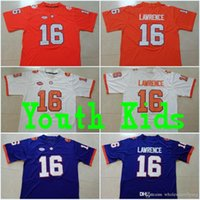 malhas de faca costuradas venda por atacado-Youth #16 Trevor Lawrence Kids Clemson #13 Hunter Renfrow #2 Kelly Bryant #4 Deshaun Watson Orange Purple White College Stitched Jerseys