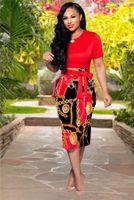 sexy sommer kurze kleider großhandel-Reißverschluss drucken Kurzarm Kleid Sexy Ladys schlanke Rundhalsausschnitt Tageskleider Sommer knielangen Kleider