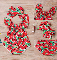 Wholesale baby clothes fruit resale online - Cute Newborn Toddler Baby Girls Fruit Romper Bodysuit with Hairwrap Headband Summer Fly Sleeve Jumpsuits Climbing One piece Clothing D62808