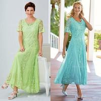 boda verde té al por mayor-Elegante, verde, longitud de té, encaje, madre de la novia, vestidos de escote redondo, vestido de novia con mangas, una línea más el tamaño vestidos formales