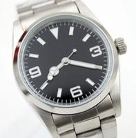 мужские наручные часы оптовых-36MM Автоматические механические часы с фиксированным куполом из нержавеющей стали Мужские часы Черный циферблат со светящимися стрелками и указательными часами