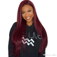 Wholesale ombre dark red wig for sale - Group buy 99J Lace Front Wig Ombre Pre Plucked Silky Straight With Baby Hair Brazilian Remy Wine Red Burgundy Full Lace Straight Human Hair Wigs