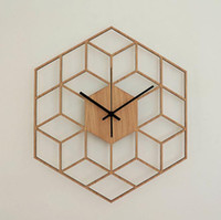 Wholesale clock for pc resale online - 1 Hexagon Wood Wall Clock European Minimalist Geometric Lines Exquisite Artistic Silently Clock for Cafe Home Living Room Decor
