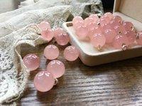 ingrosso la guarigione della luce-Spedizione gratuita Madagascar rosa naturale cristallo di quarzo palla pendente piccola lampadina collana di guarigione