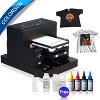 ingrosso vassoio automatico-stampante DTG stampante flatbed Colorsun automatica A3 macchina da stampa di formato della maglietta di colore scuro dei jeans con due cassetto con inchiostro tessile