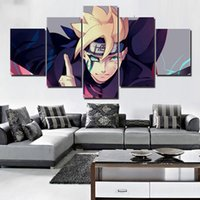 ingrosso paesaggio pitture a olio cinese-Quadro Arte Poster Stampe Quadro Tela HD Wall 5 Pezzi / Pc Animazione Naruto Immagini Modulari Per Soggiorno Home Decor