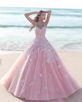 vestido de casamento forrado de flores venda por atacado-Dubai Árabe Princesa florais 3D-de-rosa de vestidos de casamento Flower Line 2020 Sheer Applique Tulle Pescoço da colher mangas laço longo vestido nupcial