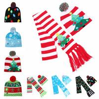 Wholesale crochet hat reindeer resale online - kids LED Christmas knitted Hat Scarf Santa Claus Snowman Reindeer Elk Festivals Hats Xmas Party Gifts Cap LJJA2752