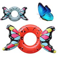 Wholesale inflatable ring floats online - PVC Thickening Originality Inflatable Floats Cartoon Butterfly Adult Swimming Ring Summer Beach Popular Anti Wear Fold Hot Sale hqI1