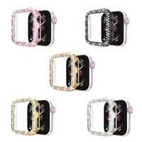 High Quality PC Cover Case with Double Row Diamond for Apple Iwatch 1 2 3 4 5 series 38mm 42mm 40MM 44MM Five Colors Optional