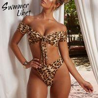 drucken mikro-bikini großhandel-Leopardenmuster Badeanzug Frauen Hohe Taille Bikini 2019 Brasilianischer Tanga Badeanzug Push Up Knot Bademode Badende Micro Bikini Set Y19072401