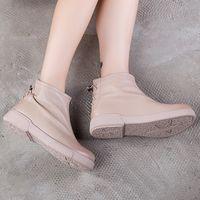 бежевые низкие каблуки оптовых-Women  Boots Beige Leather Shoes Winter Low Heels Women Boots Handmade Genuine Leather Ankle Riding Shoes168