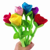 новинка цветочной ручки оптовых-Красивая роза цветок шариковые ручки канцелярские свежие мяч ручка новинка любовник подарки