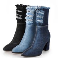 erkek kot ayakkabıları toptan satış-Bayanlar Shoes Kadın Ayakkabı Kadın Zapatos Mujer Sapato orta buzağı Çizmeler Tıknaz Yüksek Topuklu Denim Jean Patik Sivri Burun XZ181262