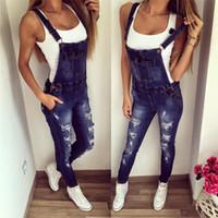 macacão jeans venda por atacado-2018 Estilo Europeu Namorado Mulheres Denim Macacão Correias Macacão Feminino Menina Skinny Jeans Buraco Plus Size Calças Lápis