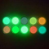 polvo 3d al por mayor-Polvo de uñas fluorescente ultrafino Neón fosforado Nail Art Glitter Pigment 3D Glow Luminous Dust Decoraciones 10 colores RRA1499