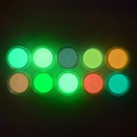 3d parıltı toptan satış-Ultra ince Floresan Tırnak Tozu Neon Fosfor Renkli Nail Art Glitter Pigment 3D Glow Aydınlık Toz Süslemeleri 10 renkler RRA1499