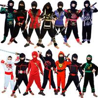 décorations de ninja achat en gros de-Costumes Ninja Cosplay Costume Classique D'Halloween Costumes Ninja Pour Enfants Décorations Fournitures Uniformes Costumes De Fête Ninja