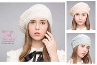 ingrosso berretti acrilici-Stand Focus Fashion Crochet Beanie lavorato a maglia Beret Acrilico Pearl Lurex Warm Hat Cap donna Donna Autunno Inverno Pink Mint Beige Handmade