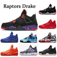 ingrosso singolo skateboard-NIKE Air Jordan retro 4 4s Raptors Drake Travis Scott Scarpe da pallacanestro da uomo Soldi puri di bianco Bred Scarpe da ginnastica da uomo Sneakers sportive taglia 5.5-13