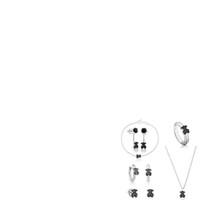 ours boucles d'oreilles achat en gros de-100% argent sterling 925 Spinel Stud boucles d'oreilles Sweet Fashion Bears Couple Bagues Beau Collier Élégant Magnifique Cadeaux Pour Femmes