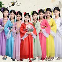 Wholesale girls dresses for sale - Group buy traditional chinese folk dance costumes ancient opera tang dynasty han ming child hanfu dress clothing girl kids children LJJA2686