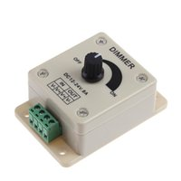 regulador de voltaje 12 al por mayor-12V 24V LED Dimmer Switch 8A Regulador de voltaje Controlador ajustable para LED Lámpara de luz de tira Nuevo