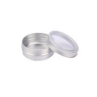 aluminium-behälterdeckel großhandel-60 ML Aluminium Cremetopf Topf mit Sichtfenster Silber Box Schraubdeckel Nail art Makeup Lipgloss Leere Kosmetische Metalldose Container