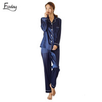loungewear frau großhandel-Fioday Winter-Silk Satin-Pyjamas für Damen Lange Pyjamas Lounge Sets Zweiteiler Nachtwäsche Frauen Pijama Set Plus Size 5xl Q190513