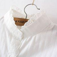 camisa de algodão branco rendas mulheres venda por atacado-Ladies Designer Tops Womens Blusas Lace Mulheres White Shirts Spring Summer Long Sleeve Ruffled 100% algodão fino suave Blusa Tops 0,15 kg