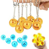 Wholesale flash anime online – oversize Hot Anime Dragon Ball Z Keychains Orange Blue Pvc stars Goku Dragonball Key Chains Plastic Pendant Llavero Chaveiro Gift For kids toys