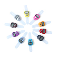 dijital halka sayacı toptan satış-Dijital Parmak Ring Tally Sayaç El Örgü Satır sayacı Clicker Düzenlendi