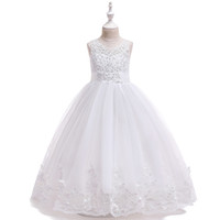 Wholesale hot flower photos resale online - Hot New Tulle Little Girls Bridal Gown Flower Girl Dresses Sleeveless Girls Formal Dresses for Wedding Party