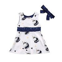 neugeborene mädchen brautkleider großhandel-2018 niedlichen Einhorn Prinzessin Kleid ärmellose Neugeborenen Party Brautkleid + Stirnband niedlichen Gürtel Set