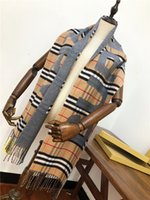 Wholesale printed pashmina shawl tassels for sale - Group buy Mink wool blend scarf women men Classic grid shawl fashion Autumn winter scarves Long printing tassel shawl Add handbag